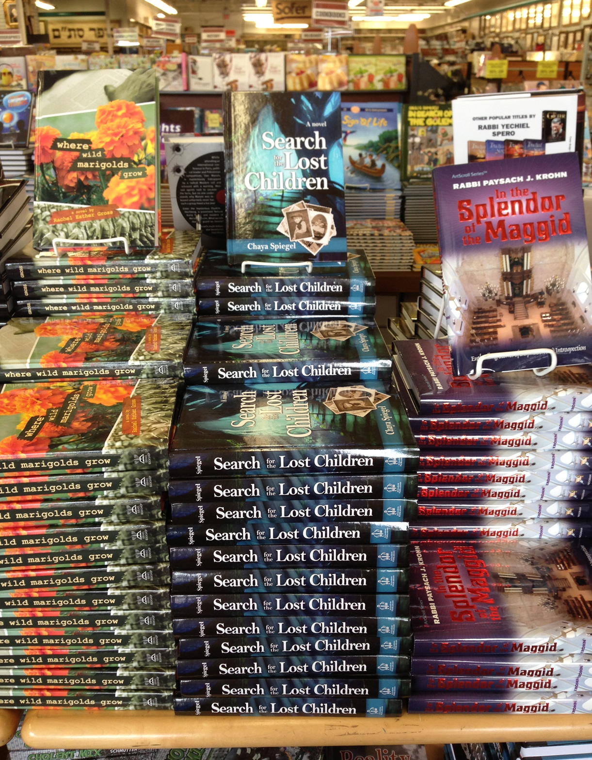 A stack of Chaya Spiegel\'s historical fiction novel, Search for the Lost Children (Jerusalem Publications, 2013), displayed at Eichler\'s.