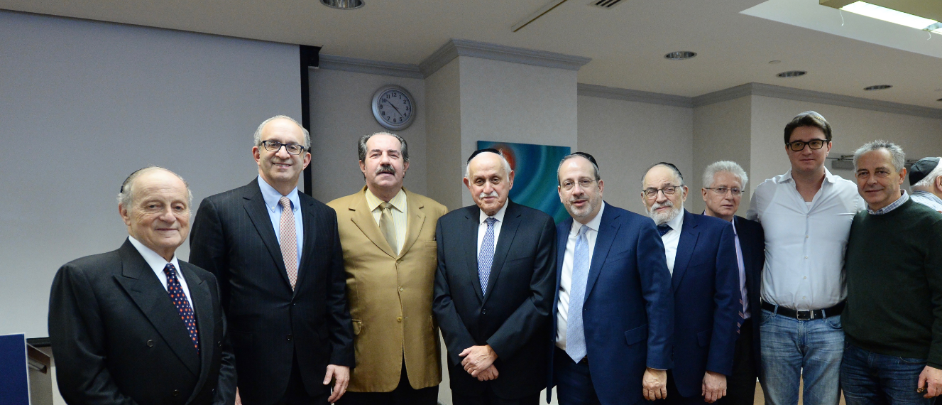 ( l-r) Daniel Retter, Esq, Touro Board of Governors; Dr. Alan Kadish, Touro President; Alex Rovt, donor; Dr. Robert Goldschmidt, dean of Touro's Lander College of Arts & Sciences in Flatbush; Rabbi Moshe Krupka, Touro Executive Vice President; Dr. Stanley Boylan, Touro Vice President of Undergraduate Education; David Weisz, cousin of Alex Rovt; Maxwell Rovt, son of Alex Rovt; Alfred Weisz